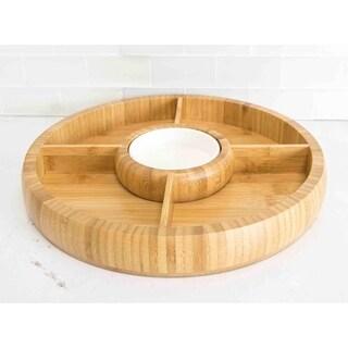 Home Basics Natural Bamboo Chip and Dip Bowl