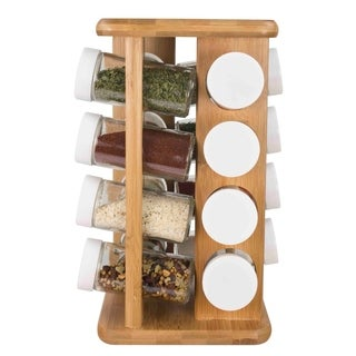 Home Basics Clear and Natural 16-piece Bamboo Revolving Spice Rack