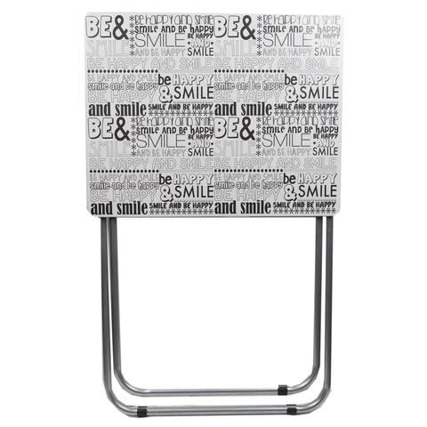 Home Basics Happy Black and White Multi-Purpose Foldable Table