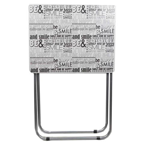 Home Basics Happy Black and White Multi-Purpose Foldable Table