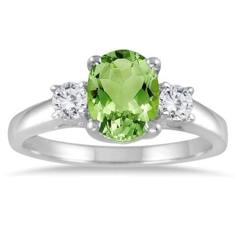 1 3/4 Carat Peridot and Diamond Three Stone Ring 14K White Gold