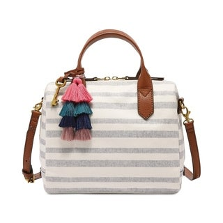 Fossil Fiona Small Fabric Printed Satchel Grey Stripe