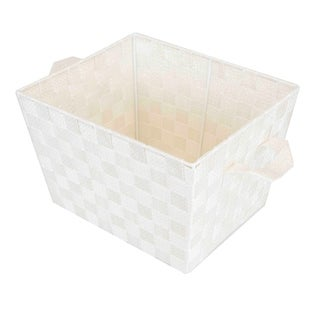 Home Basics Ivory Medium Metallic Gold Sheen Woven Bin