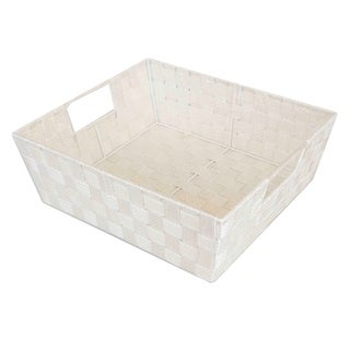 Home Basics Ivory Large Metallic Gold Sheen Woven Bin