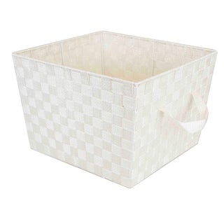 Home Basics Ivory X-Large Metallic Gold Sheen Woven Bin