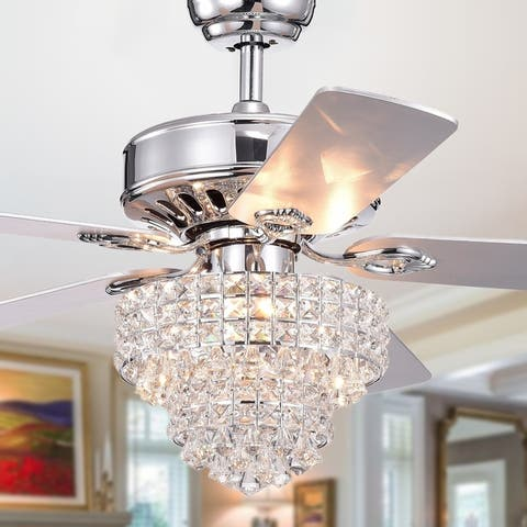 Bryanya 5-Blade 52-inch Chrome Lighted Ceiling Fans with Crystal Shade (Optional Remote)