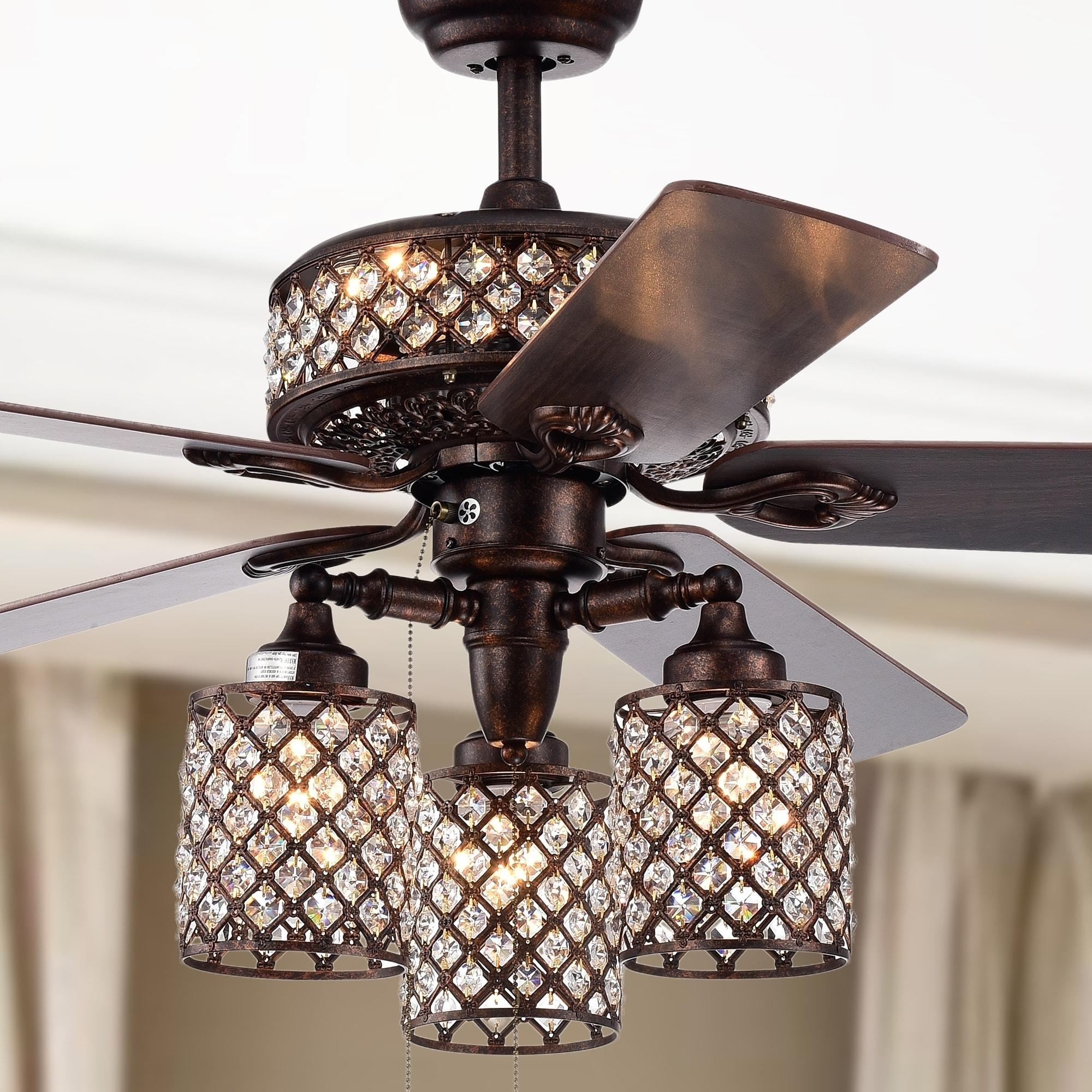 Image of: Shop Black Friday Deals On Pristil 5 Blade 52 Inch Rustic Bronze Lighted Ceiling Fans With Crystal Grid Shade 2 Color Option Blades Overstock 22580751