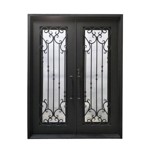 "ALEKO Iron Baroque-Inspired Dual Door with Frame Threshold 72""x96"" - Matte Black"