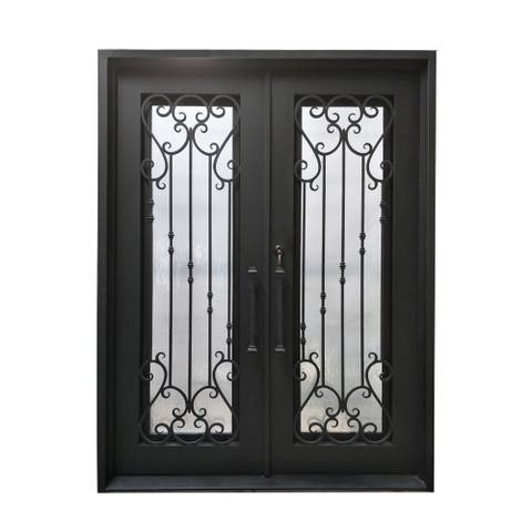 "ALEKO Iron Baroque-Inspired Dual Door with Frame Threshold 72""x96"" - Matte Black"