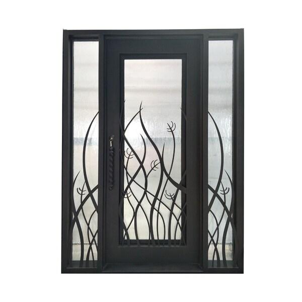 Shop Aleko Iron Tall Grass Door With Frame Threshold 72 X