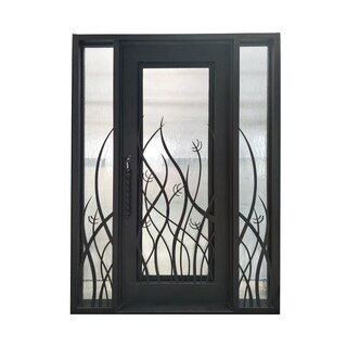 ALEKO Iron Tall Grass Door with Frame Threshold 72 x 96 Inches Bronze - Aged Bronze