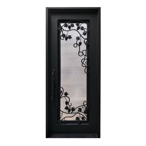 ALEKO Iron Square Top Grapevine Door with Frame Threshold 40x96 Inches - MATTE BLACK