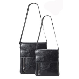 Diophy PU Leather Mens Zipper Cross Body Bag 2 Pieces Set