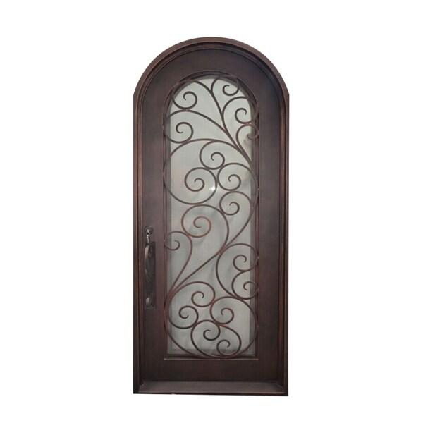 Aleko Iron Twisted Vines Door With Frame Threshold 40x96 Aged
