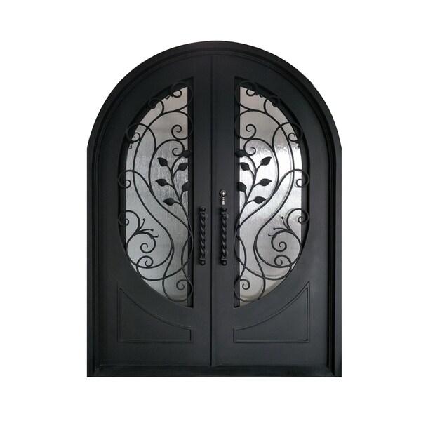 Shop Aleko Iron Leaf Dual Door With Frame Threshold 72 X 96 Inches