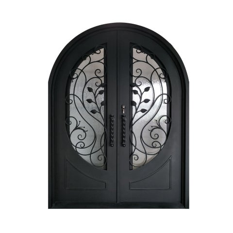 ALEKO Iron Leaf Dual Door with Frame Threshold 72 x 96 Inches - MATTE BLACK