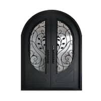 ALEKO Iron Leaf Dual Door with Frame Threshold 72 x 96 Inches - MATTE BLACK