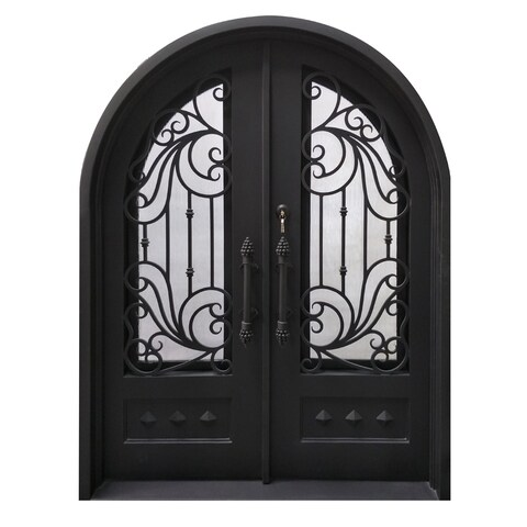 "ALEKO Iron Dimensional-Panel Dual Door with Frame Threshold 62"" x 81"" - MATTE BLACK"