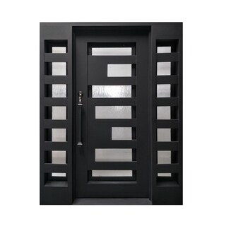 ALEKO Iron Geometric-Embossed Door with Frame Threshold 62x81 inches - MATTE BLACK