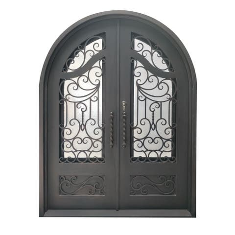"ALEKO Iron Baroque-Inspired Dual Door with Frame Threshold 72"" x 96"" - Darkened Aged Bronze"
