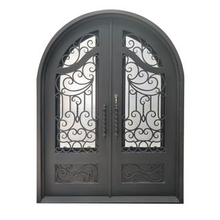 "ALEKO Iron Baroque-Inspired Dual Door with Frame Threshold 72"" x 96"" - Aged Bronze"
