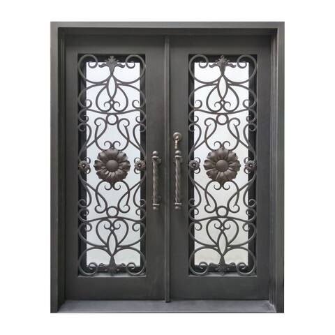 ALEKO Iron Sunflower Dual Door with Frame and Threshold 62 x 81 Inches - Aged Bronze