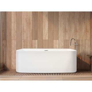 "Aria 59"" x 28"" White Rectangle Soaking Bathtub"