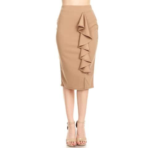 Women's Casual Solid Ruffled Trim Pencil Skirt