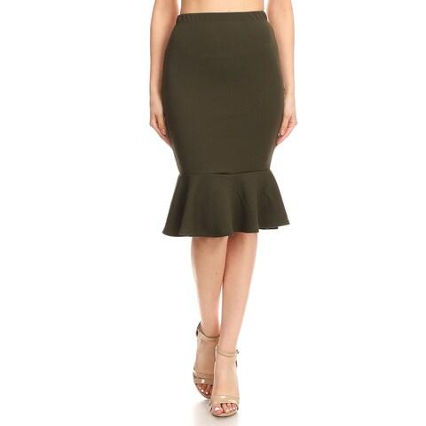 Women's Casual Ruffled Trim Mermaid Skirt
