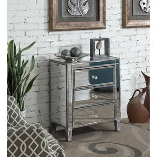 Silver Orchid Olivia 3 Drawer Mirrored End Table