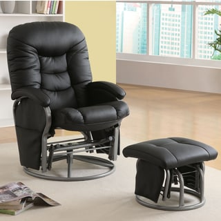 Porch & Den Mackinac Leatherette Padded Glider with Ottoman - 2-Piece
