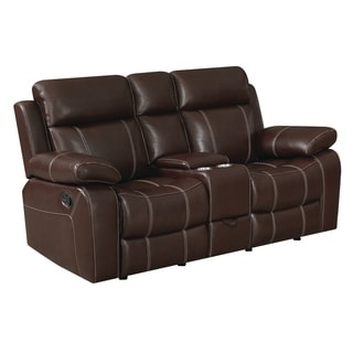 "Copper Grove Glentress Brown Double Gliding Loveseat with Console - 76"" x 37"" x 40"""