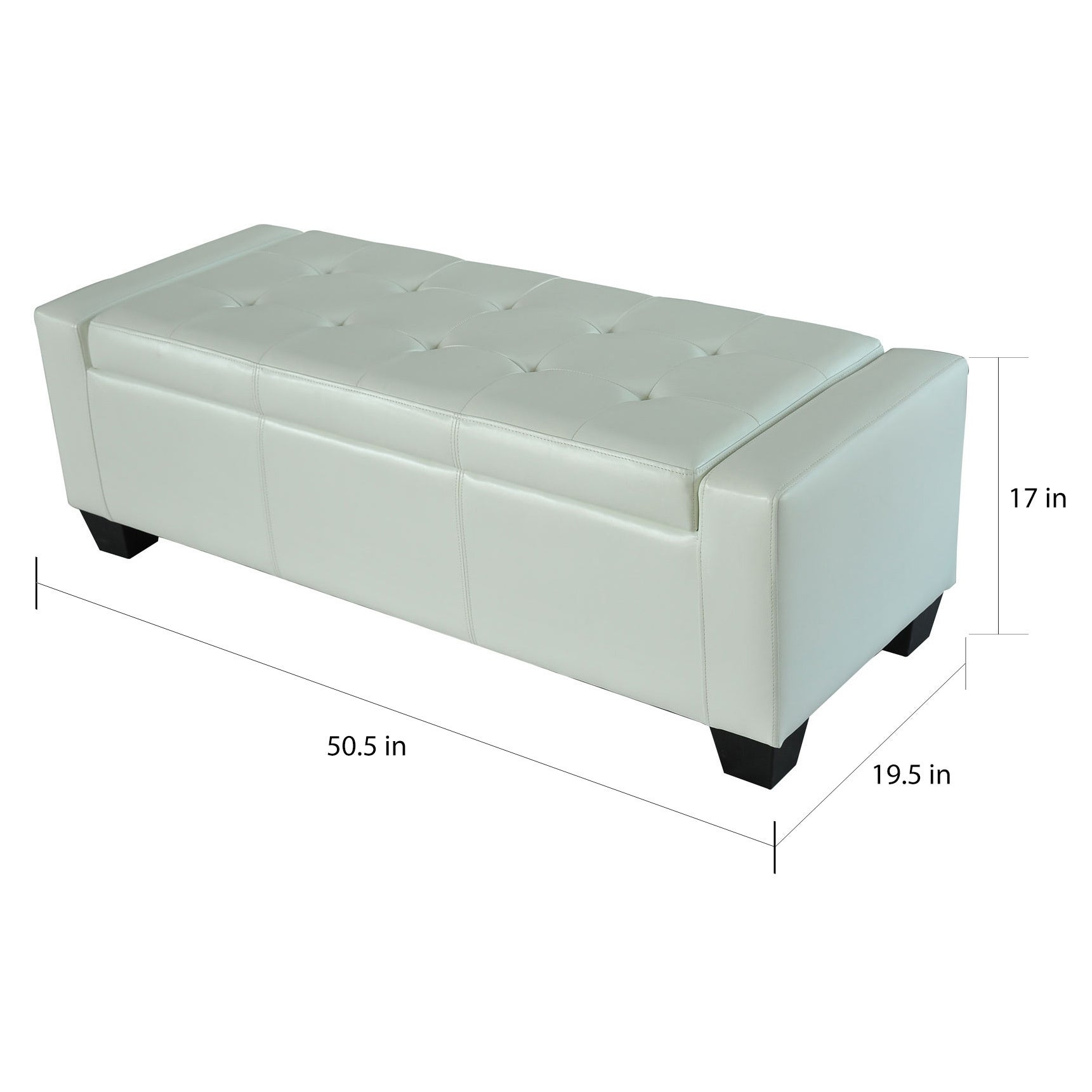 Porch Den Pickard White Faux Leather Storage Ottoman Bench On Sale Overstock 22580941