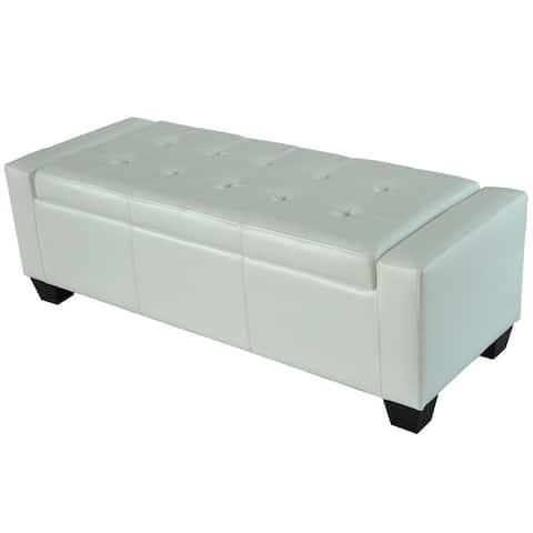 Porch & Den Pickard White Faux Leather Storage Ottoman Bench