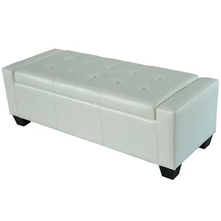 Link to Porch & Den Pickard White Faux Leather Storage Ottoman Bench Similar Items in Living Room Furniture