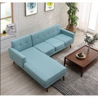 Palm Canyon Tamarisk Mid-century Left-facing Tufted Linen Fabric Upholstered Sectional Sofa