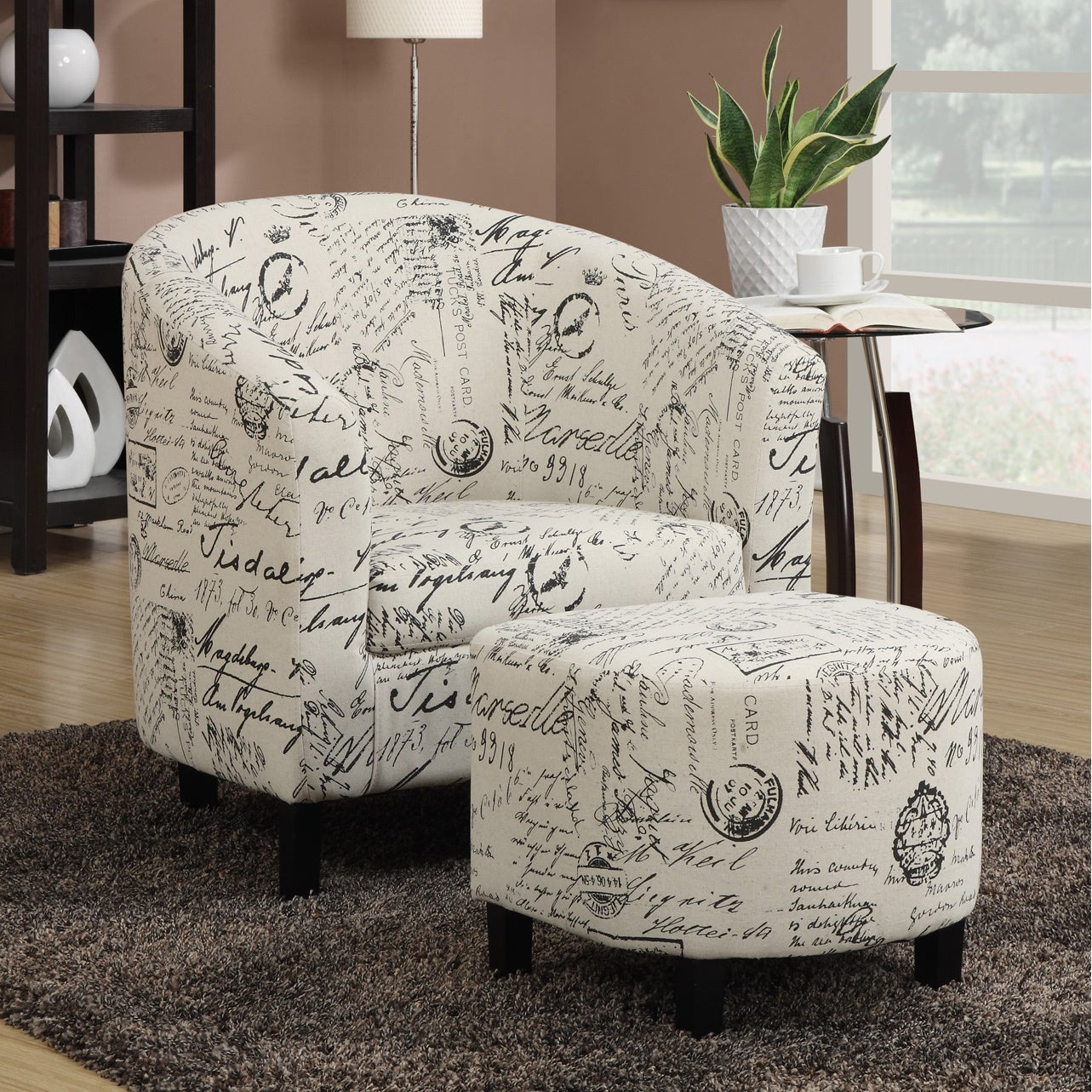 Peachy Porch Den Sahara French Script White Accent Chair And Ottoman Alphanode Cool Chair Designs And Ideas Alphanodeonline