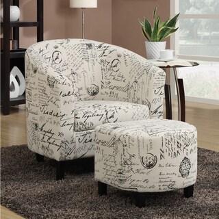 Porch & Den Sahara French Script White Accent Chair and Ottoman - 2-Piece