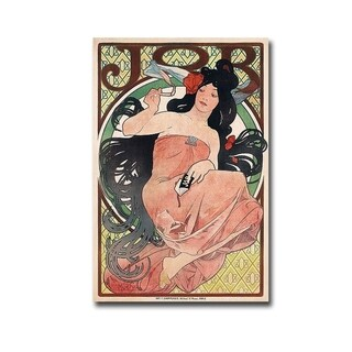 Alphonse Mucha' Job Cigarette Rolling Papers Advertisement' Gallery Wrapped Canvas Giclee Art