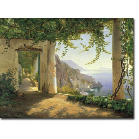 View to the Amalfi Coast by Carl Frederic Aagaard Gallery Wrapped Canvas Giclee Art