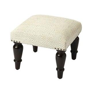 Butler Samina Solid Wood Distressed Ivory Upholstered Stool