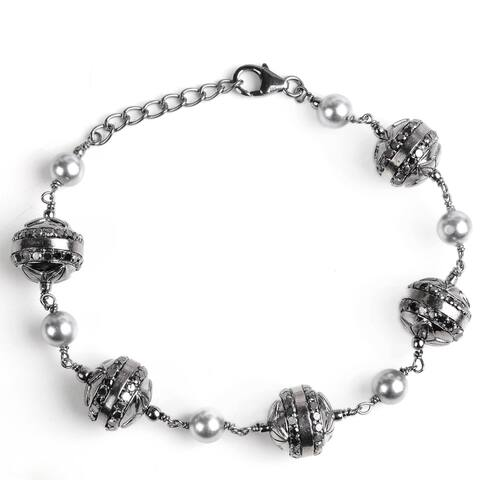 Diamond, Pearl Sterling Silver Round Chain Bracelet by Orchid Jewelry