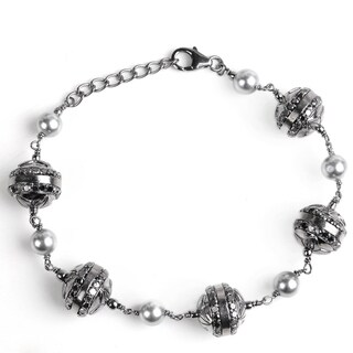 Jeweltique Designs 925 Sterling Silver 14.50 Carat Diamond & Pearl Bracelet