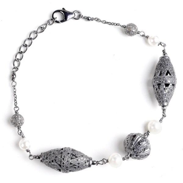 Jeweltique Designs 925 Sterling Silver 10.12 Carat Diamond & Cultured Pearl Bracelet
