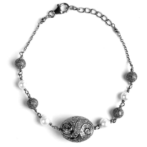 Diamond, Pearl Sterling Silver Round Chain Bracelet by Diacrown