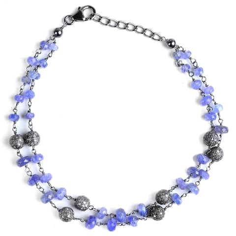 Diamond, Tanzanite Sterling Silver Round Beaded Bracelet by Orchid Jewelry