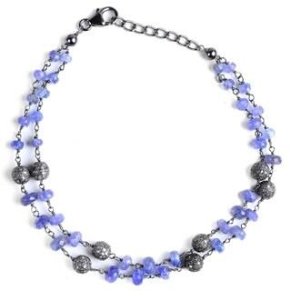 Jeweltique Designs Sterling Silver 17.28 Carat Diamond & Tanzanite Bracelet