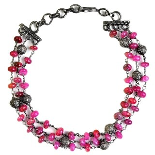 Jeweltique Designs 925 Sterling Silver 30.66 Carat Diamond & Ruby Bracelet