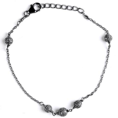 Jeweltique Designs 925 Sterling Silver 1.22 Ct Diamond Chain Bracelet