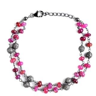 Jeweltique Designs Sterling Silver 29.08Ctw Diamond & Ruby Bracelet